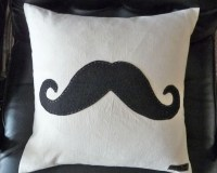 Moustache Pillow, Black Mustache Throw Cushion Cover, Man ...