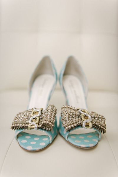 Shoes, shoes, shoes. These turquoise polka dot numbers are calling our name |   Read more - http://www.stylemepretty.com/2013/08/09/baltimore-wedding-from-l-hewitt-photography/