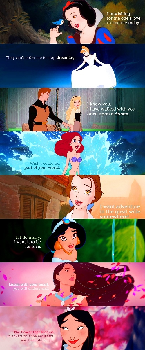 Belle, Jasmine and Ariel were my favorites! I didn't care for Cinderella, I was too scared to watch Snow White because of the evil witch and I found Sleeping Beauty not that exciting