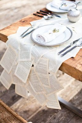 party, decor, table decor, table setting, place setting, wedding, books, table runner, book table runner