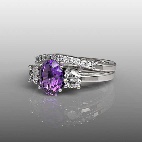 10k White Gold Engagement Ring and Wedding Band Set