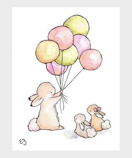 Vintage Balloons for Bunnies Print