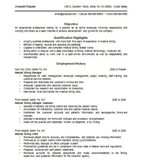 Resume Examples For Medical Billing | Example Of Cover