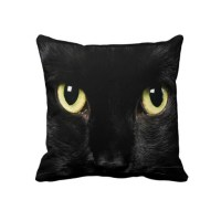 Black Cat Face Design Throw Pillow Home Decor