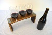Wine Flight / Glass holder V1- 100% retired Napa wine barrels
