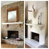 Brick fireplace painted white | Check It Out | Pinterest