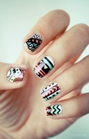 tribal aztec nail design