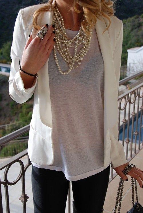 blazer + tshirt + pearls