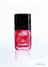 Watercolor Chanel red nail polish by Helen Simms ...