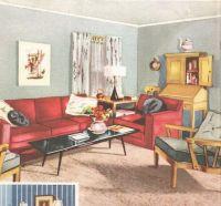 Living room mid century decor 1950s house interior design ...