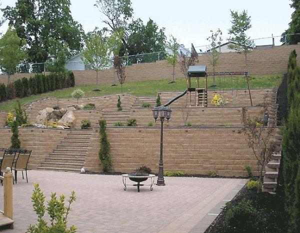 terraced backyard hill yard