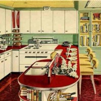 Mint green and red vintage kitchen. See the yellow accents ...