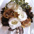 Wedding bouquet bridal silk flower camouflage cream brown ivory camo