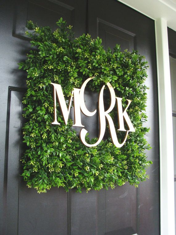 Square Monogram Boxwood Wreath, Boxwood Monogram Wreath, Outdoor Spring Wreath, Housewarming Gift, Wedding Wreath 20 INCH on Etsy, $125.00