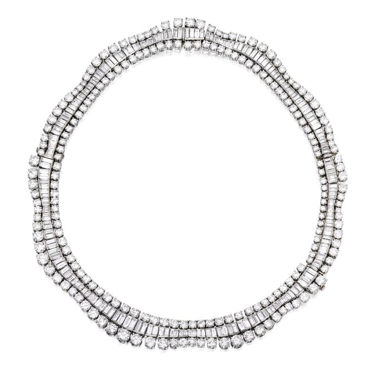 Platinum and Diamond Necklace-Bracelet Combination, Retailed by Cartier | Lot | Sotheby's