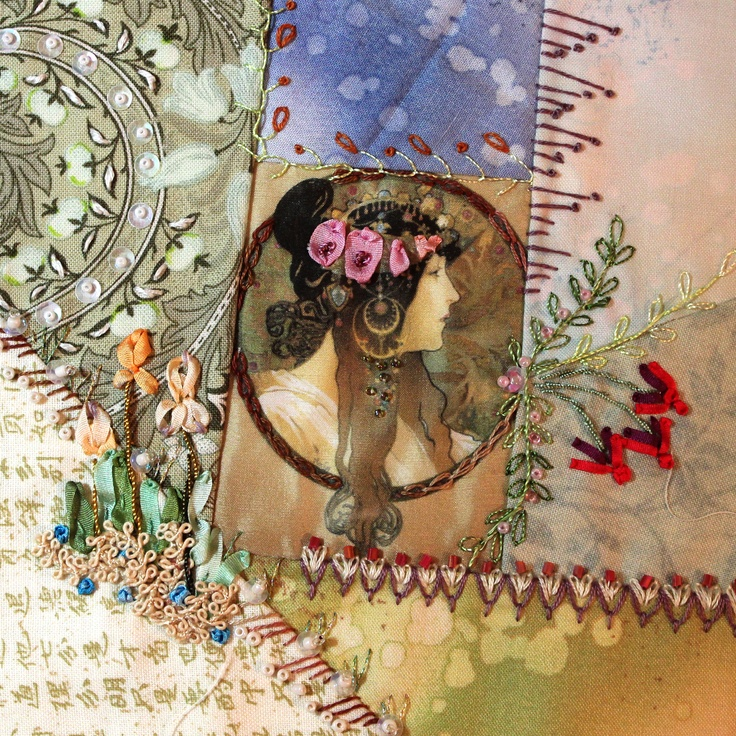 Gypsy Living Traveling In Style| | Serafini Amelia I Blog-SerafiniAmelia ❤ crazy quilting & ribbon embroidery . . . Still Stitching Those Crazy Quilt Blocks- One set of blocks are a tribute to Alphonse Mucha who's art I have loved for years. Some of his art is so romantic, and each one just draws me into another era, & I have chosen many of his lovely ladies as the center feature of my blocks. ~By Sally Papin, Quilted Tapestry