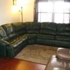 Dark Green Leather Sofa Rv Reclining Sleeper Couch Bonded Sofas