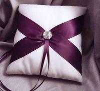 Ring bearer pillow purple ribbon