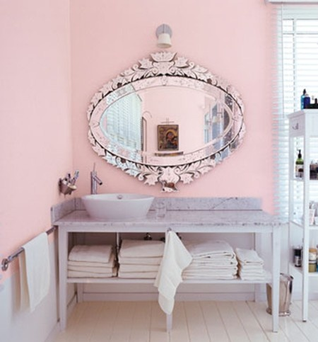 Venetian Mirror in Pink Bathroom  For the Home  Pinterest