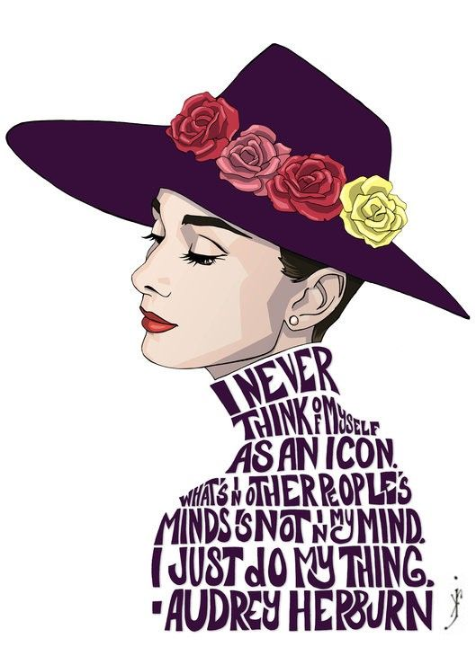 """I never think of myself as an icon. What's in other people's minds is not in my mind. I just do my thing.""	    ""Audrey"" is a print of an original illustration by Kenneth J. Franklin, 2010."