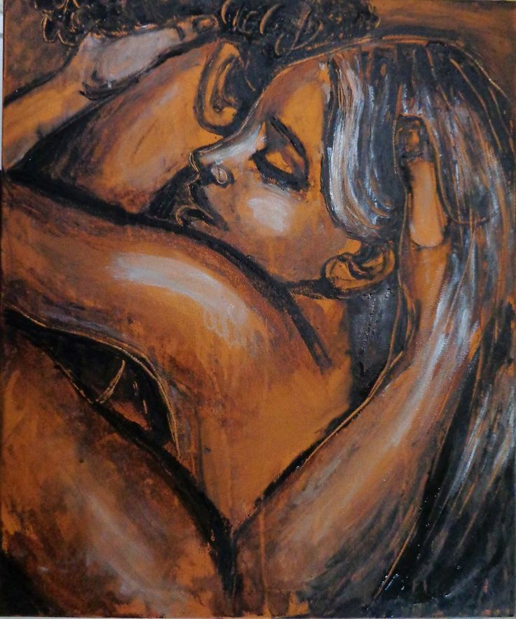 "Lovers - Stay With Me Original unique acrylics painting on canvas, painted edges and ready to hang. A contemporary figurative expressionist image of an embracing couple. Fresh and spontaneous style by using the palette knife.Size 60cm x 50cm x 1.5cm (24""x20""x1""). The painting comes with onw Certificate of Authenticity. FREE next day delivery in U.K."
