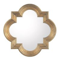 Quatrefoil Mirror Available in 2 Colors: Gold, Aged Silver