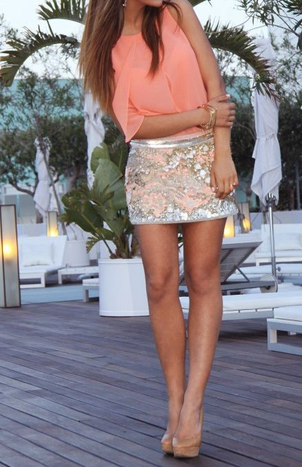 the coral top and the shimmery skirt- LOVE!