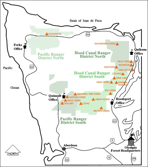 Olympic National Forest Campgrounds Map Forks