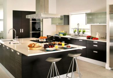 White Kitchen Cabinets Black Island