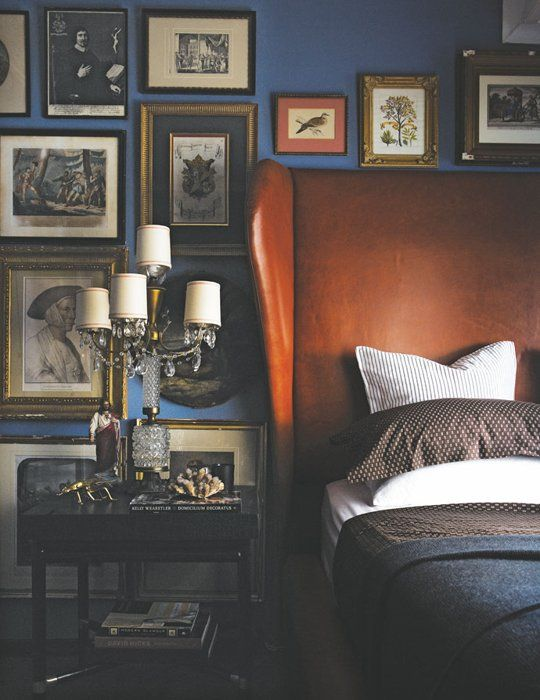 Considered a 'masculine room' on apartment therapy, but I would be happy to get under the covers in this room.
