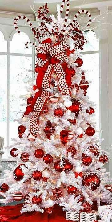 Christmas tree decorations red & white
