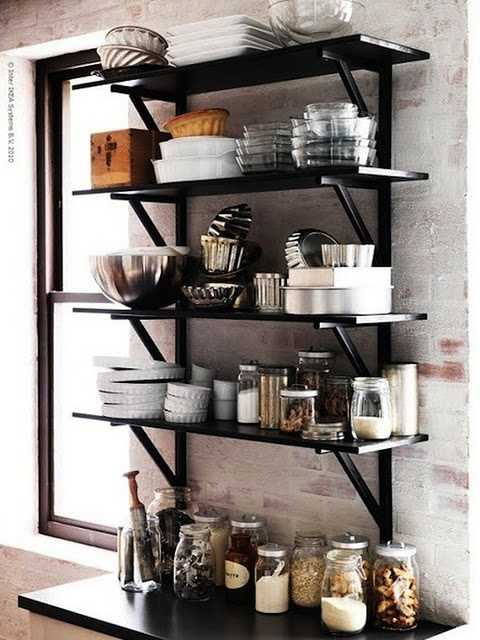 open shelf in kitchen