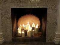 Candles in the fireplace. | Home Ideas | Pinterest