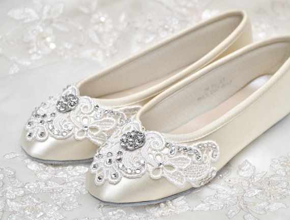Could be the perfect wedding shoes for my tiny size 2 feet. Girls Shoes - Ballet Flats, Vintage Lace,Wedding Flower Girl Shoes, With Swarovski Crystals, Little Belle Flower Girl Shoes