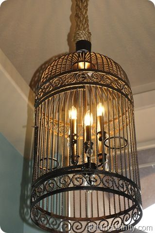 This is a frugal way to make a light with a birdcage and chandelier to look like the $2300 from Restoration Hardware