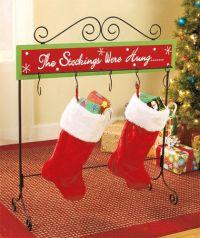 Christmas stocking floor stand metal wood holder table ...