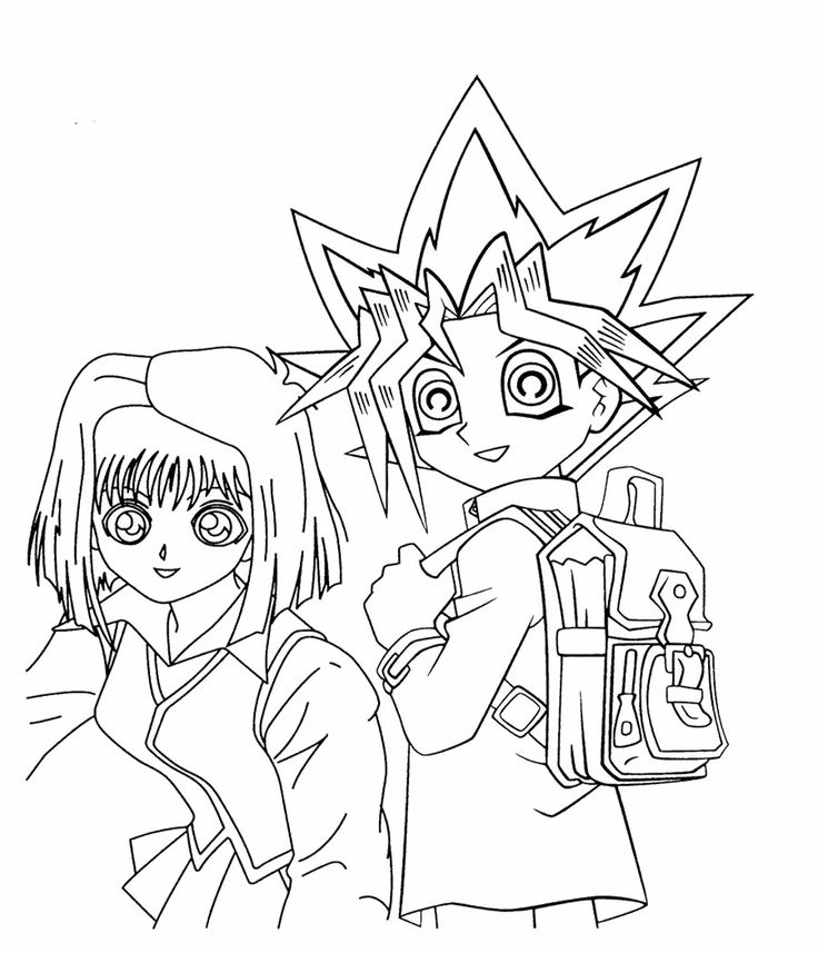 Yugi Muto And Tea Gardner Coloring Page For Kids