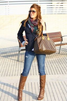 skinny jeans, blazer, scarf, and boots....