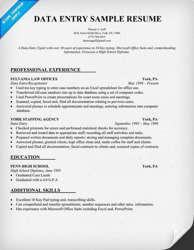Data Entry Resume Sample Job Pinterest