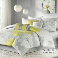 Gray and Yellow Comforter