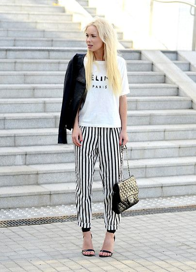 Black and white, especially the striped pants  Stripes (by Victoria Törnegren) http://lookbook.nu/look/4720941