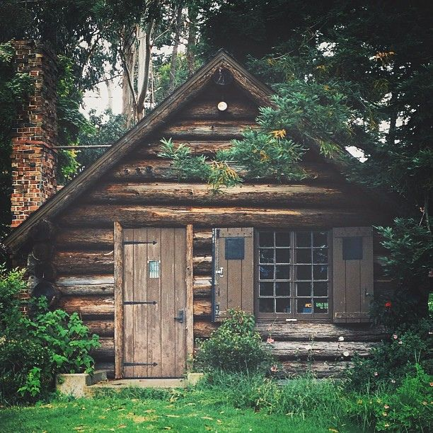 Perfect little log cabin ... charming shutters and large iron door hinges.  #cabin