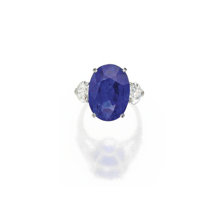 Platinum, sapphire and diamond ring. Photo Sotheby's