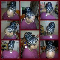 Cornrows into braided bun wit weave | Hair | Pinterest