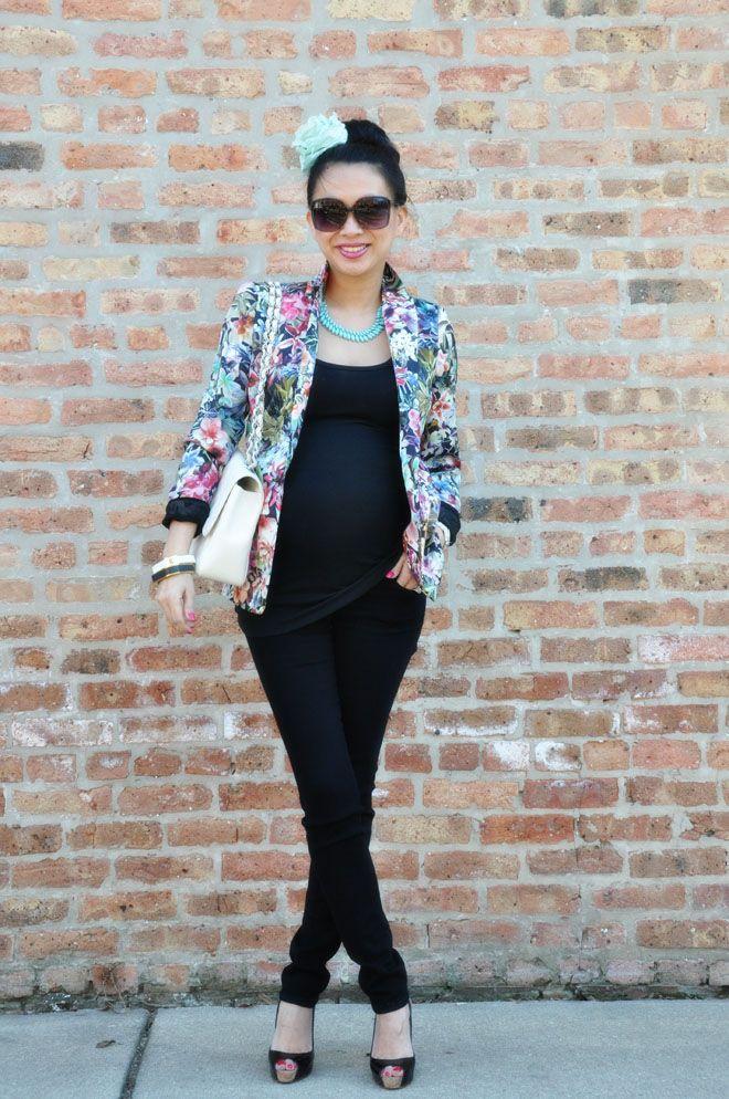 Zara Floral Blazer  |  Target Maternity Tank  |  Citizens of Humanity Skinny Denim  |  Zara Flower  |  Christian Louboutin Slingbacks  |  Chanel Bag  |    t+j Designs jewelry:  Mint Jeweled Necklace  |  Black Faux Leather Square Bangle  |    White Faux Leather Square Bangle  |