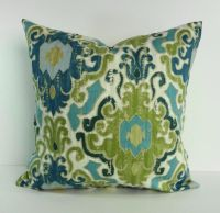 Blue and Green Decorative Pillow Cover, Throw Pillow ...