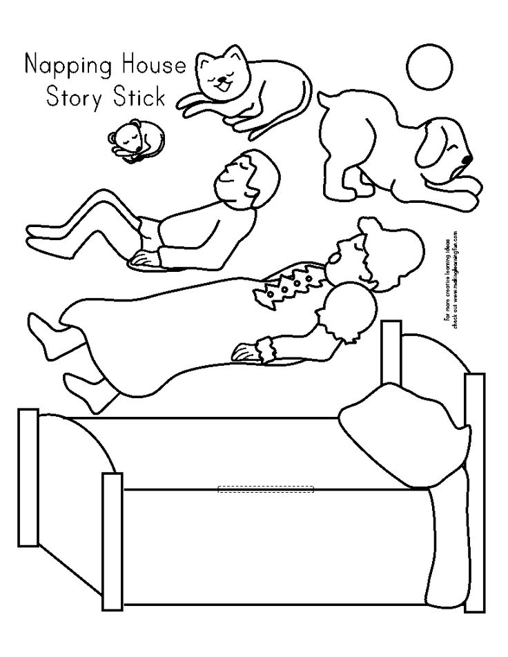 Napping House Printables Sketch Coloring Page