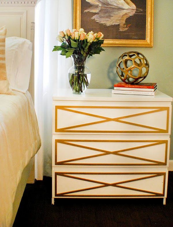 The lady from O'verlays whom I asked said that they produced this hack themselves, left the Malm dresser plain, then simply sprayed the o'verlays with Rustoleum Metalic Gold spray paint before applying.  [ikea overlay hack malm dresser]