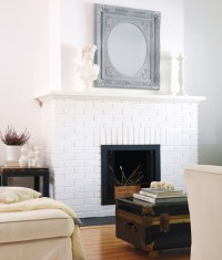 White painted brick fireplace | For the Home | Pinterest