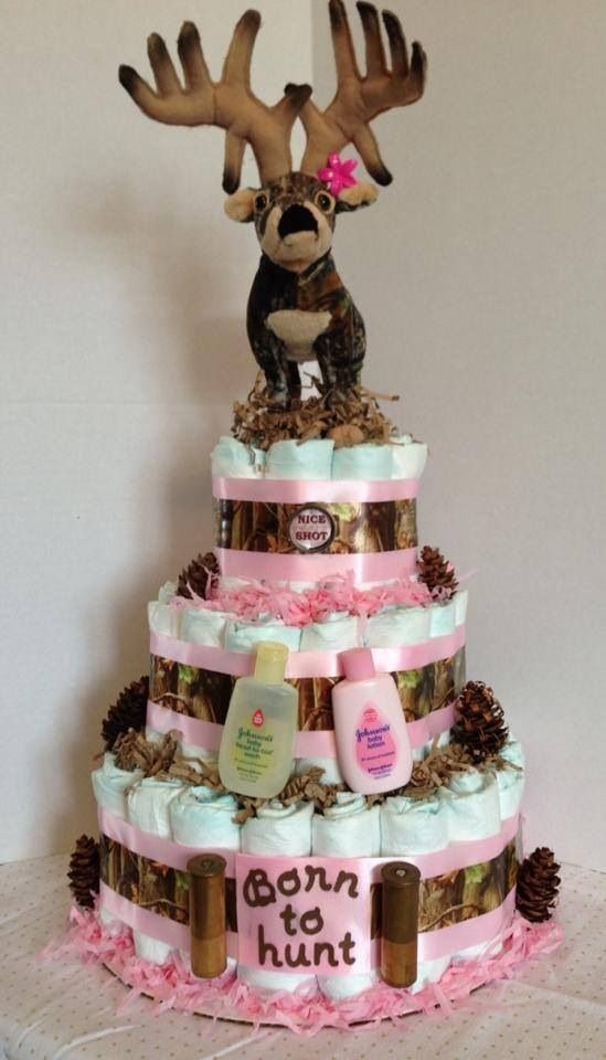 Pink Camo Diaper Cake Ideas
